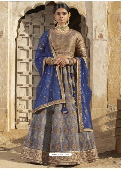 Aqua Grey And Tan Silk Stone Embroidered Designer Bridal Lehenga Choli