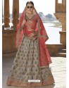 Light Red And Grey Silk Stone Embroidered Designer Bridal Lehenga Choli