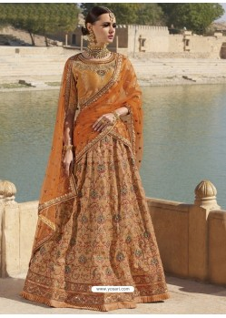 Orange Silk Stone Embroidered Designer Bridal Lehenga Choli