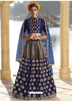 Navy Blue Silk Stone Embroidered Designer Bridal Lehenga Choli