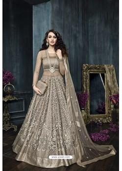 Taupe Net Embroidered Designer Anarkali Suit
