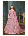 Pink Net Embroidered Designer Anarkali Suit