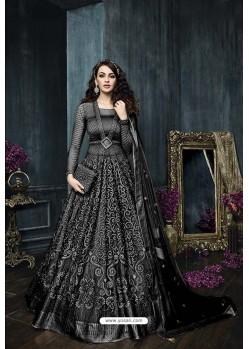 Black Net Embroidered Designer Anarkali Suit