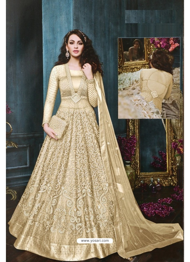 Cream Net Embroidered Designer Anarkali Suit