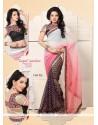 Cream And Pink Shaded Chiffon Casual Saree