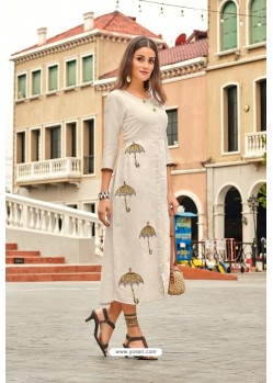 Off White Premium Cotton Embroidery Cotton Kurti
