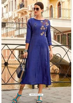 Dark Blue Premium Cotton Embroidery Cotton Kurti