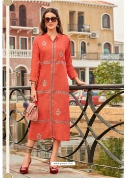 Light Red Premium Cotton Embroidery Cotton Kurti
