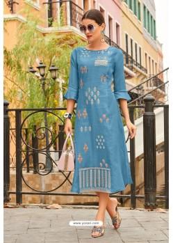 Blue Premium Cotton Embroidery Cotton Kurti