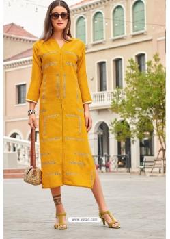 Yellow Premium Cotton Embroidery Cotton Kurti