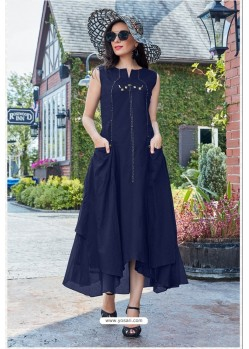 Navy Blue Premium Cotton Readymade Gown