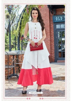 White And Red Premium Cotton Readymade Gown