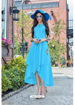 Sky Blue Premium Cotton Readymade Gown
