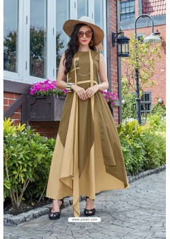 Cream And Brown Premium Cotton Readymade Gown