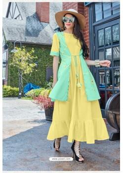 Yellow Premium Cotton Readymade Gown