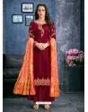 Maroon Satin Georgette Thread Embroidered Palazzo Suit