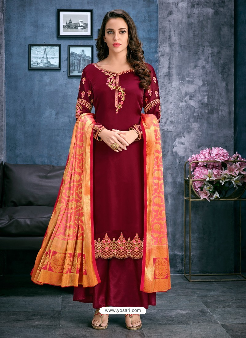 ae36cd0310f Buy Maroon Satin Georgette Thread Embroidered Palazzo Suit