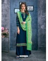 Teal Blue Satin Georgette Thread Embroidered Palazzo Suit