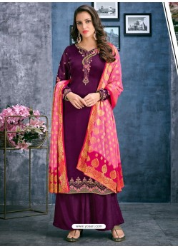 Purple Satin Georgette Thread Embroidered Palazzo Suit
