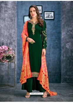 Dark Green Satin Georgette Thread Embroidered Palazzo Suit