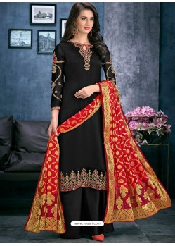 Black Satin Georgette Thread Embroidered Palazzo Suit