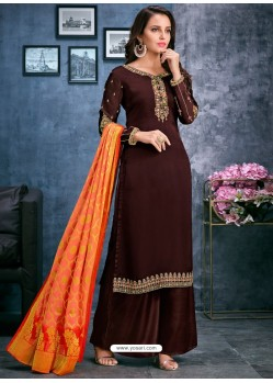 Coffee Brown Satin Georgette Thread Embroidered Palazzo Suit