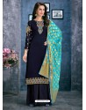 Navy Blue Satin Georgette Thread Embroidered Palazzo Suit