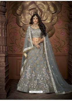 Fabulous Grey Net Embroidery Designer Lehenga Choli