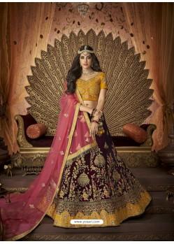 Ravishing Maroon Silk Embroidery Designer Lehenga Choli
