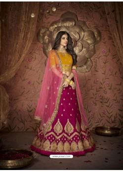 Scintillating Rani Silk Embroidery Designer Lehenga Choli