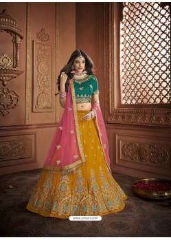 Awesome Yellow Silk Embroidery Designer Lehenga Choli
