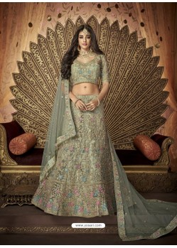 Classy Grey Silk Embroidery Designer Lehenga Choli