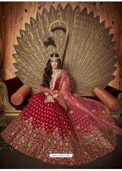 Fascinating Red Silk Embroidery Designer Lehenga Choli