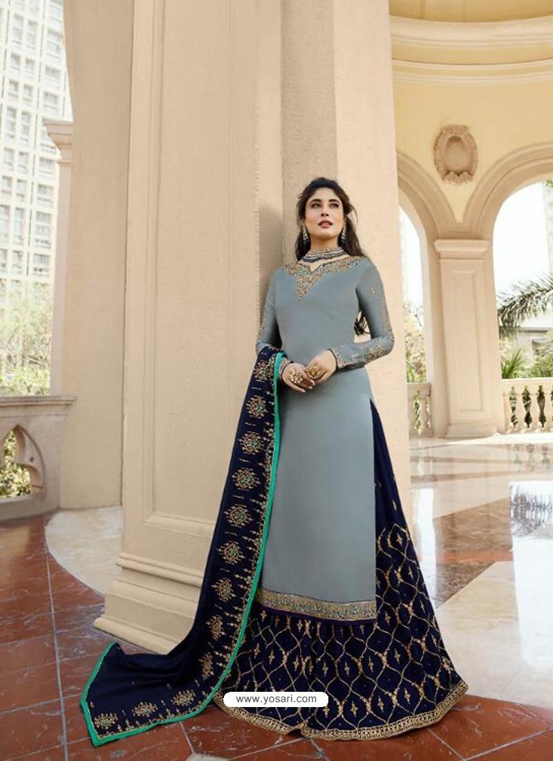 9cb4af38ec Classy Grey Georgette Embroidery Designer Party Wear Salwar Suits ...