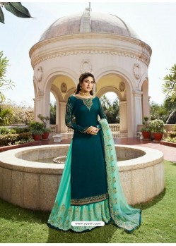 Glamorous Sea Green Blue Georgette Embroidery Designer Party Wear Salwar Suits