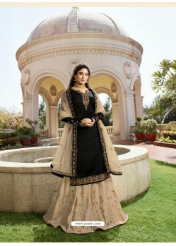 Glamorous Black Georgette Embroidery Designer Party Wear Salwar Suits