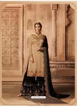 Beige And Black Satin Georgette Embroidered Palazzo Suit