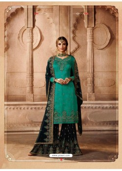 Teal Green Satin Georgette Embroidered Palazzo Suit