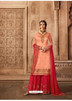 Peach And Crimson Satin Georgette Embroidered Palazzo Suit