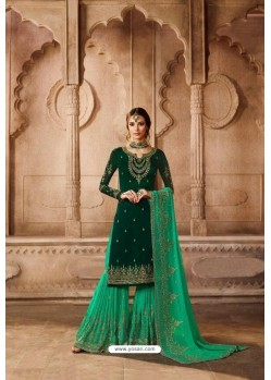 Dark And Jade Green Satin Georgette Embroidered Palazzo Suit