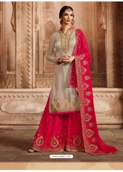 Fuchsia And Grey Satin Georgette Embroidered Palazzo Suit