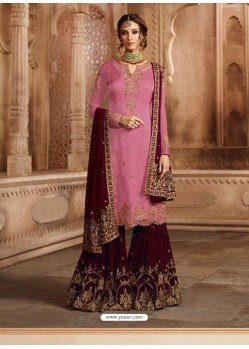 Light Pink And Maroon Satin Georgette Embroidered Palazzo Suit