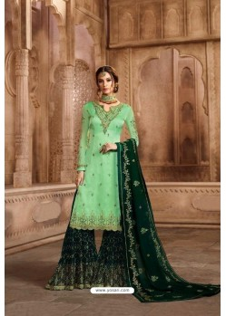 Sea And Dark Green Satin Georgette Embroidered Palazzo Suit