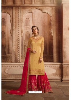 Yellow And Fuchsia Satin Georgette Embroidered Palazzo Suit