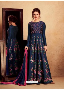 Navy Blue Heavy Silk With Pure Butterfly Net Designer Anarkali Suit