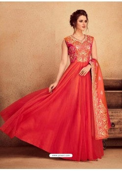Red Heavy Silk With Pure Butterfly Net Designer Anarkali Suit
