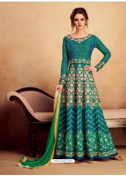 Teal Heavy Silk With Pure Butterfly Net Designer Anarkali Suit