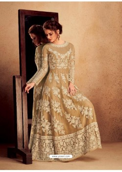 Beige Heavy Silk With Pure Butterfly Net Designer Anarkali Suit