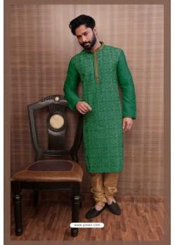 Glossy Green Kurta pajama For Men