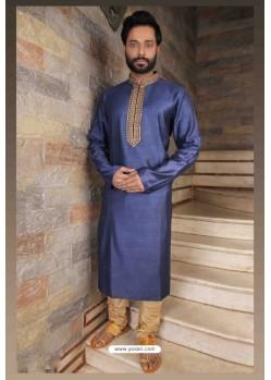 Classy Blue Slub Silk Kurta pajama For Men